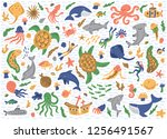 set of sea animals. isolated on ... | Shutterstock .eps vector #1256491567
