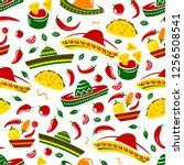mexican food seamless pattern...   Shutterstock .eps vector #1256508541