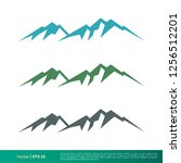 set rock mountain vector icon... | Shutterstock .eps vector #1256512201