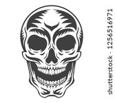 white graphic human skull with... | Shutterstock .eps vector #1256516971