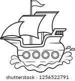 black and white illustration of ... | Shutterstock .eps vector #1256522791