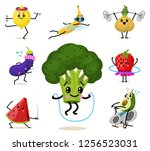 set of cute healthy vegetables. ... | Shutterstock .eps vector #1256523031