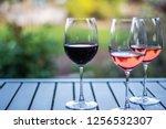 wine tasting glass at vineyard... | Shutterstock . vector #1256532307