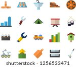 color flat icon set brick wall...   Shutterstock .eps vector #1256533471