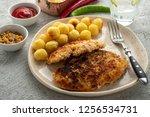 wiener schnitzel with potato...   Shutterstock . vector #1256534731