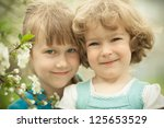 portrait of two friends with... | Shutterstock . vector #125653529