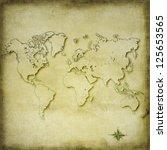 vintage sepia world map... | Shutterstock . vector #125653565