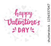 happy valentines day typography ... | Shutterstock . vector #1256537047