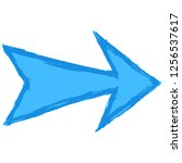 blue arrow sign painted by... | Shutterstock .eps vector #1256537617
