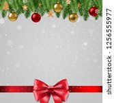christmas poster with bow with... | Shutterstock .eps vector #1256555977