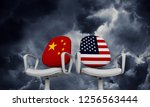 china and usa business chairs.... | Shutterstock . vector #1256563444