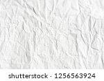 crumpled white paper texture   Shutterstock . vector #1256563924
