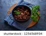 jug of goulash beef stew with... | Shutterstock . vector #1256568934