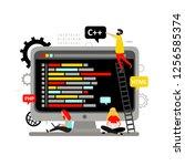 web development  computer... | Shutterstock .eps vector #1256585374