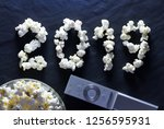 popcorn closeup in the form of... | Shutterstock . vector #1256595931