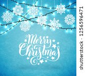 merry christmas poster with... | Shutterstock . vector #1256596471