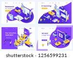 set isometric concept template... | Shutterstock .eps vector #1256599231