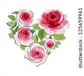 heart of pink roses. watercolor ... | Shutterstock .eps vector #125659961