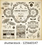 Stock vector vector set of calligraphic design elements page decoration premium quality and satisfaction 125660147