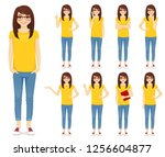 teenage girl in glasses set...   Shutterstock .eps vector #1256604877