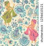vector indian seamless pattern. ... | Shutterstock .eps vector #1256610121