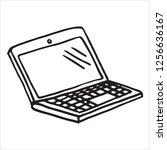 hand draw doodle laptop ... | Shutterstock .eps vector #1256636167