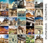 collage of sights of rome  italy | Shutterstock . vector #1256639641