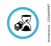 money stack and sand clock icon ... | Shutterstock .eps vector #1256644987