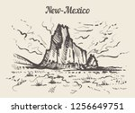 new mexico skyline hand drawn.... | Shutterstock .eps vector #1256649751