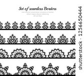 seamless set of borders in... | Shutterstock .eps vector #1256650444