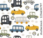seamless pattern with funny... | Shutterstock .eps vector #1256654797