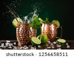 famous splashing moscow mule... | Shutterstock . vector #1256658511