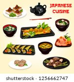 japanese and asian cuisine... | Shutterstock .eps vector #1256662747