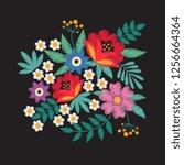 bouquet of garden flowers....   Shutterstock . vector #1256664364