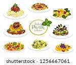 pasta dishes of italian cuisine.... | Shutterstock .eps vector #1256667061