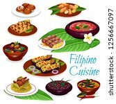 filipino cuisine meat dishes... | Shutterstock .eps vector #1256667097