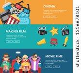 horizontal banners at cinema...   Shutterstock . vector #1256678101