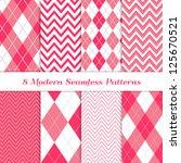 8 seamless chevron and argyle... | Shutterstock .eps vector #125670521