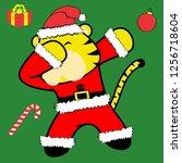 dab dabbing pose tiger xmas... | Shutterstock .eps vector #1256718604