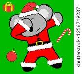 dab dabbing pose koala xmas... | Shutterstock .eps vector #1256719237