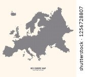 hex europe map vector isolated... | Shutterstock .eps vector #1256728807
