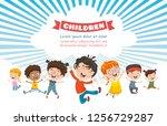 vector illustration of happy... | Shutterstock .eps vector #1256729287