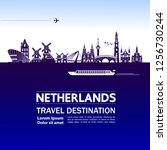netherlands travel destination... | Shutterstock .eps vector #1256730244