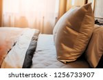 bed maid up with clean white... | Shutterstock . vector #1256733907