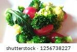 best vagan food on white plate...   Shutterstock . vector #1256738227