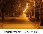 Night City Alley In Autumn