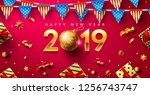 happy new year 2019 poster or... | Shutterstock .eps vector #1256743747