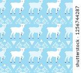 blue winter reindeer folk... | Shutterstock .eps vector #1256744287