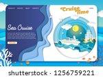 sea cruise landing page website ... | Shutterstock .eps vector #1256759221
