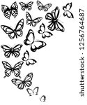 Stock vector black butterfly isolated on a white 1256764687